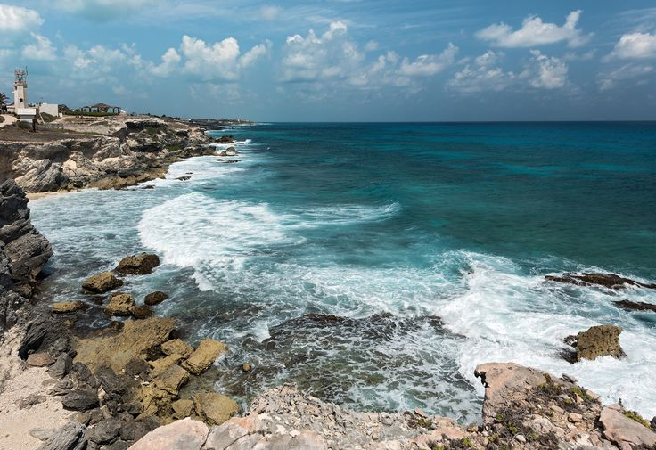 Tropical cyclone Isla Mujeres Mexico Cancun Stormy weather on the Caribbean coast Cloudy and windy