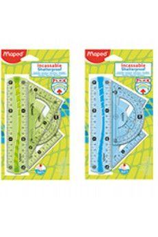 Maped Mini zestaw FLEX - nowa generacja linijek o bardzo dużej odporności na złamanie. Efektowny, gumowany element na całej długości linijki zapobiega jej przesuwaniu w czasie pracy i poprawia elestyczność. Linijki dostępne w dwóch kolorach zielonym i niebieskim - wybór losowy. Skład zestawu:...