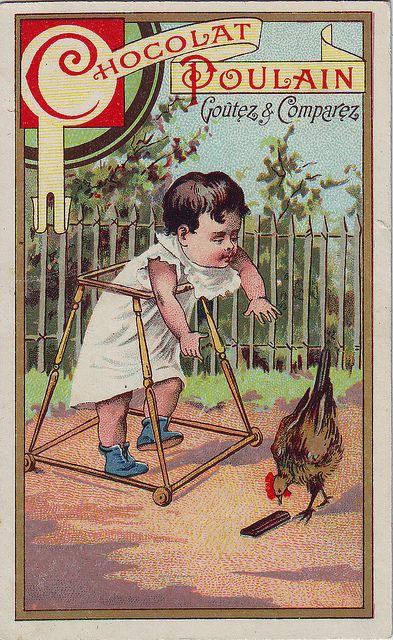 CHROMO CHOCOLAT♥ POULAIN - SMALL BOY IN BABY WALKER LOOKING UPSET A HEN INSECTING FALLEN BAR OF CHOCOLATE - HEROLD IMP by patrick.marks,