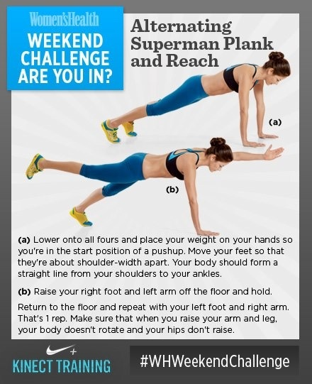 Superman plank and reach