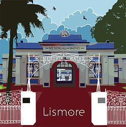This design celebrates the historic facade of the Memorial Baths in Lismore, Northern Rivers, NSW. The building is romantic and beautifully maintained. It was built in 1928 in honour of all the local young men who went to the Great War 1914-1918.