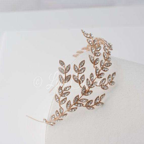 Rose Gold Bridal Headband Crystal Leaf Wedding by LuluSplendor