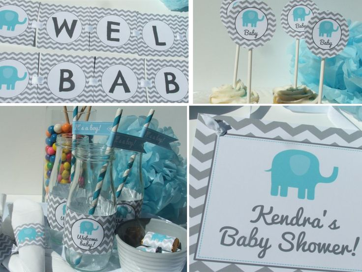 Elephant baby shower decorations party package blue gray chevron be52 printable boys elephant - Baby shower chevron decorations ...