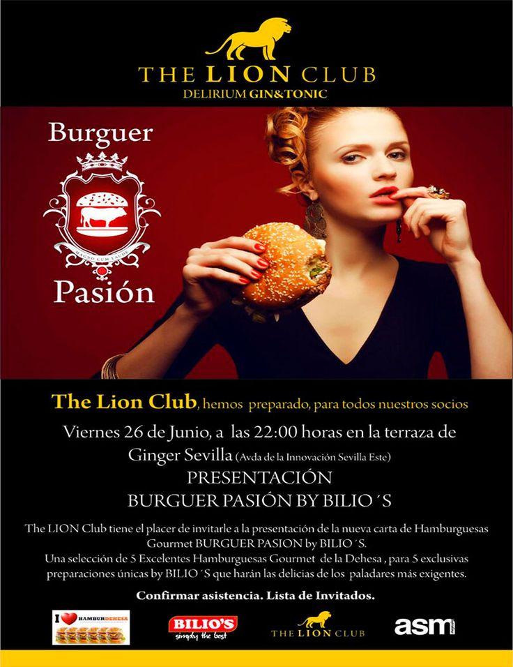 Presentación en The Lion Club -Sevilla -, de la nueva carta Gourmet BURGUER PASION by BILIO'S, con #HamburDehesa sabores de ingrediente estrella. Una gozada de sabor en una hamburguesa TOP.