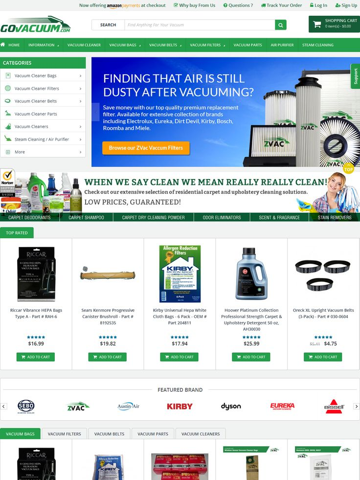Ecommerce site for Vaccum Cleaners