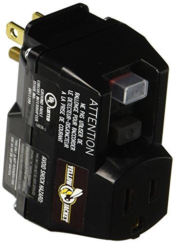 #Yellow #Jacket 2762 GFCI Plug-In Adapter, Black/Yellow, 1-Outlet. Manual test-reset buttons. Powerlite plug glows when cord has power. Adds protection and maximu...