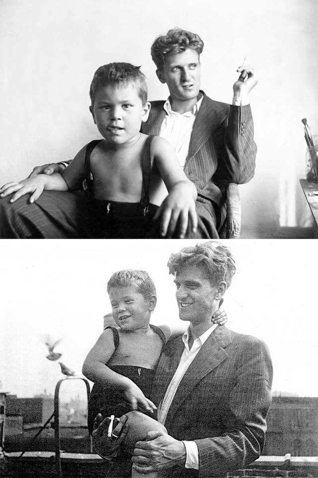 A young Robert De Niro with his dad Robert De Niro Sr., ca. 1946.