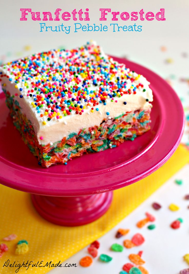 Fruity pebble cereal treats are topped with a delicious marshmallow cream cheese frosting, and loads of sprinkles.  These will bring a smile to everyone's face!
