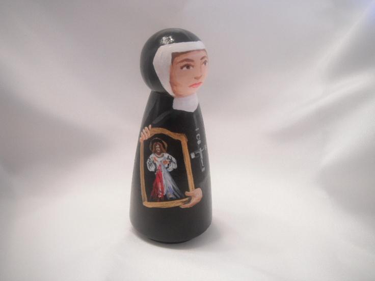 Saint Faustina (Mary Faustina Kowalska) - Catholic Saint Doll - made to order. $25.50, via Etsy.