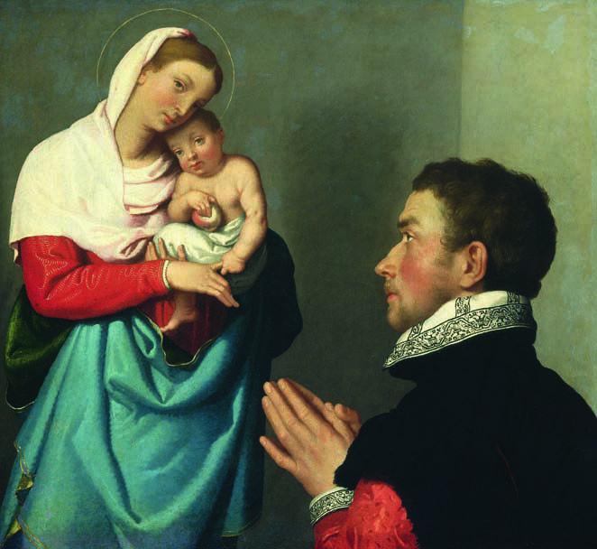 Giovan Battista Moroni - Devoto in adorazione della Madonna e del Bambino - 1555…