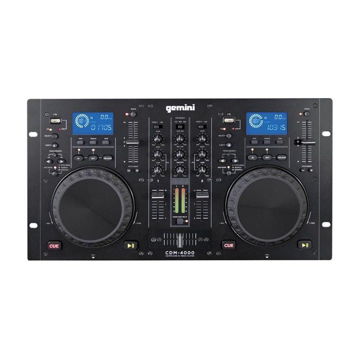 Gemini CDM-4000 CD/MP3/USB DJ Media Player Beginner 2-Band EQ Controller Mixer