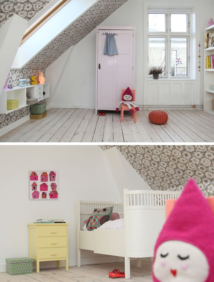 DECORATED BY KIDS ROOM  Here's another sneak peak of the interior decorating project we're working on…  The lovely wallpaper is from Retro Villa and the lovely illustration is from Lisa Congdon. Kids Room sells the sweet owl cushion - if you are interested please send an email to mail@kidsroom.dk