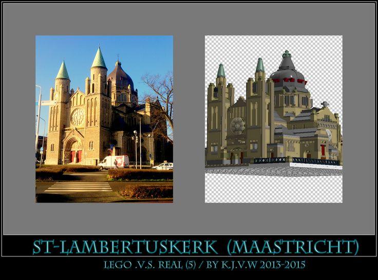 [ st-lambertuskerk lego .v.s. real part 5 ]  5 of the 19 photo's from my collage of St-Lambertuskerk (Maastricht) ((Non-lego))