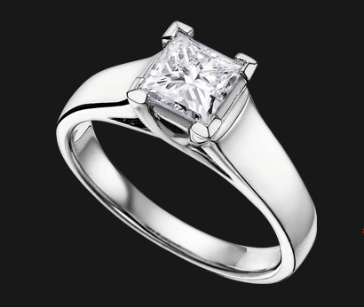 Maple Leaf Diamonds white gold engagement ring with a princess cut stone