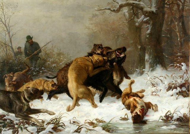 К.Ф. Дейкер.Охота на кабана.1861