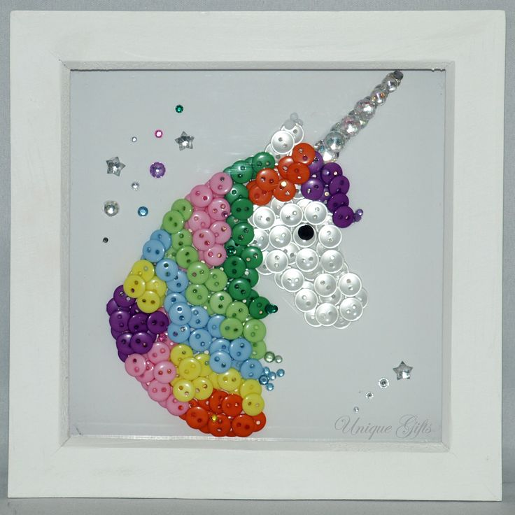 Unicorn Button Art Frame  White natural wood frame 6 × 6 in / 15 × 15 cm  Handmade, using buttons and acrylic gemstones.   £30 plus postage & packaging  https://www.etsy.com/uk/shop/UniqueGiftsButtons https://www.facebook.com/unique.gifts.buttons