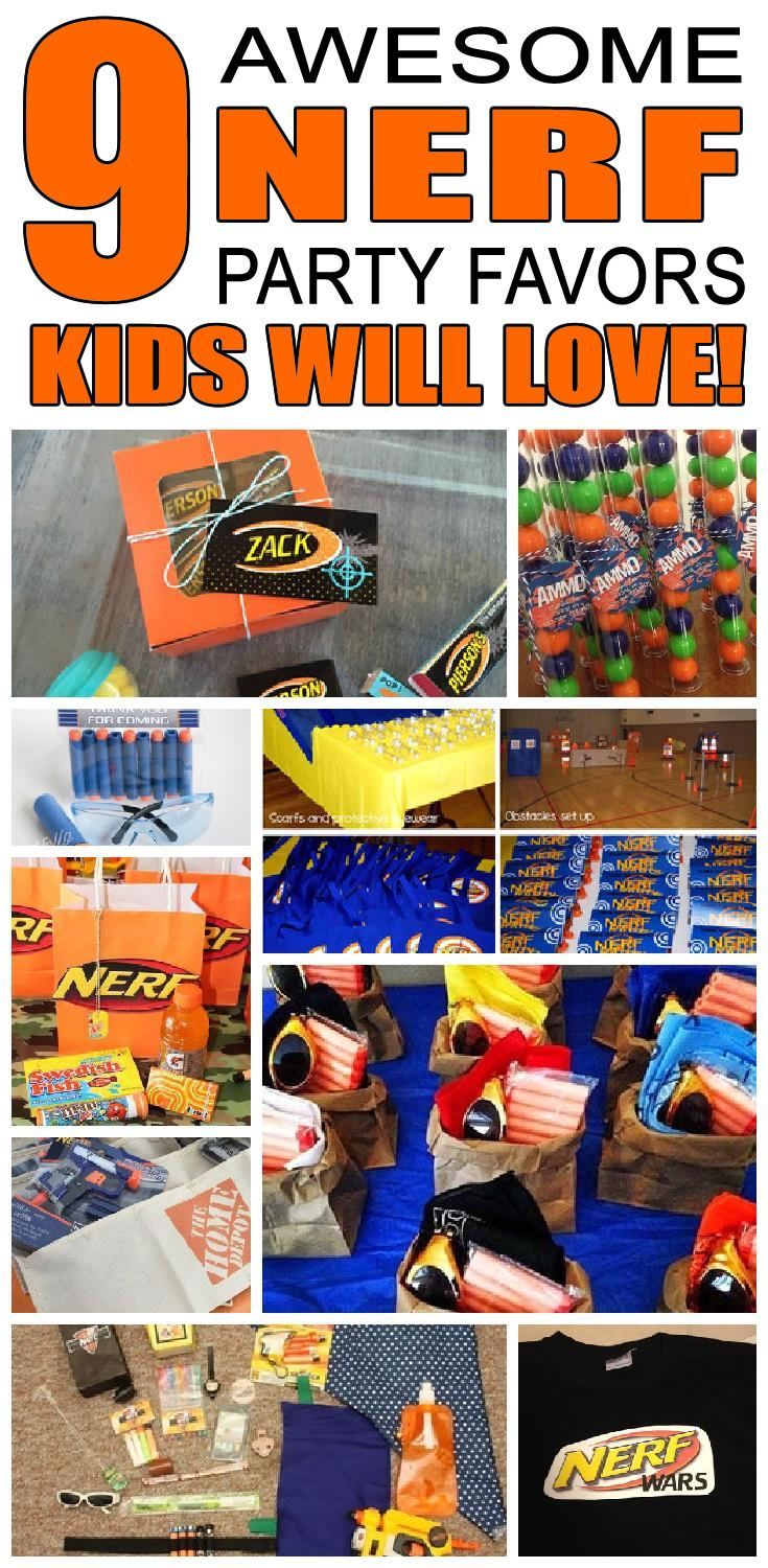 9 nerf party favor ideas for kids. Fun and easy nerf birthday party favor ideas for children.