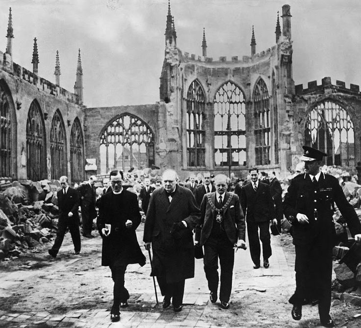 Winston Churchill walks through the ruins of Coventry Cathedral, 1942    The History Of The 20th Century - BBC Archive