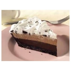 Triple Layer Chocolate Pie -  So easy and so yummy! Make sure you follow the directions on how much milk to add...don't use the directions on the box of pudding mix or it will be too runny!