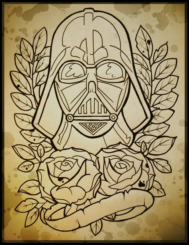 Tattoo Flash Line Drawing Converter : Darth vader tattoo line art pinterest