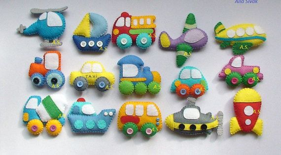 This price is for 15 items  Cars toys. Soft, pleasant to the touch, warm toys, funny miniature refrigerator magnets - 15 units of Technics and Vehicles, made of pleasant and colorful felt, stuffed with polyester. Each item have 1 strong magnet inside, so you can put them on refrigerator ( fridge ) or magnetic board for example.  Vehicles:  1. Rocket 2. Sailboat 3. Helicopter 4. Ship 5. Submarine 6. Train 7. Cement mixer 8. Bus 9. Fire truck 10. Small car 11. Country truck 12. Taxi cab 13…