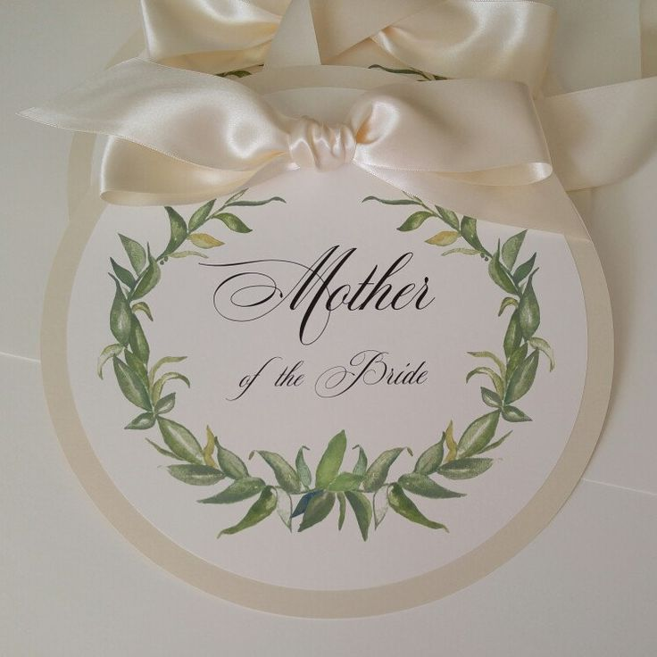 #wedding reserved signs for the Mother of the Bride. My water color laurel wreath design. Cream and soft white.