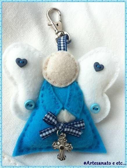 felt angel blue and white
