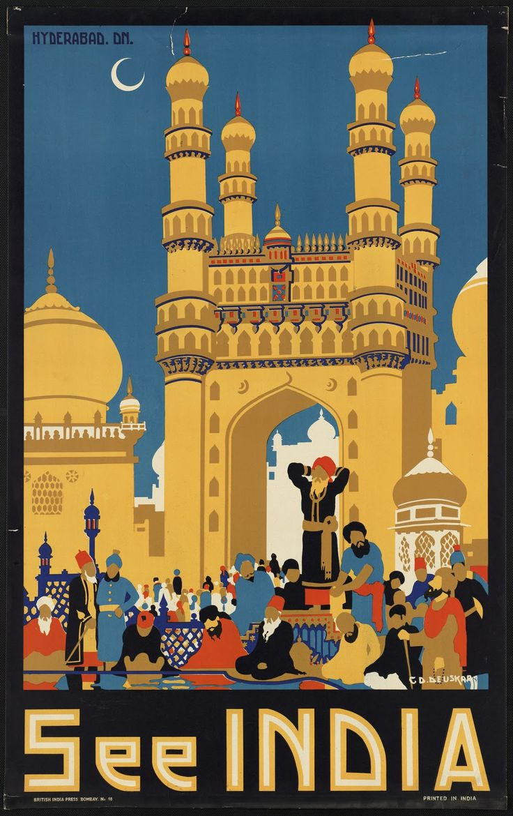 "illustration : affiche de tourisme, ""see India"", Deuskar, architecture indienne"