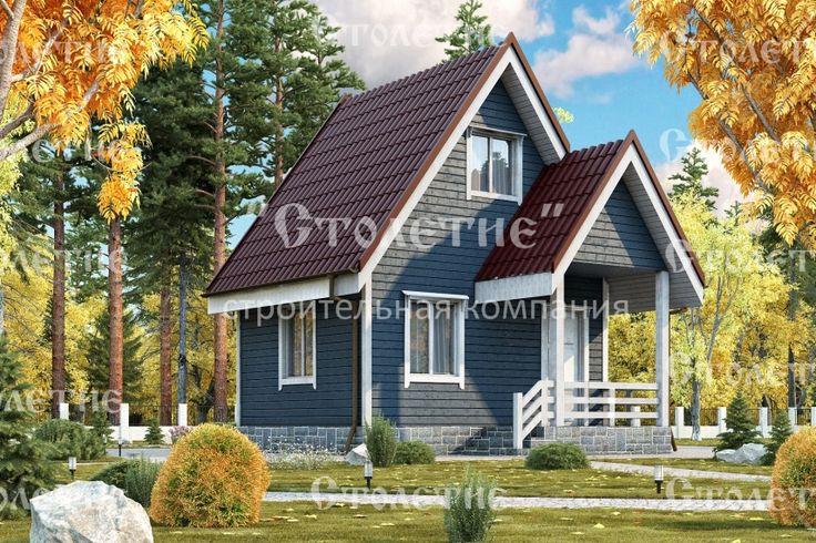Проект дома ДБ-09 размером 4 на 5 метра в цветом решении Осень