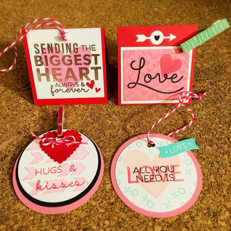Tiny hand stamped Valentine's gift tags