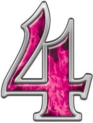 Reflective Number 4 with Inferno Pink Flames | Alphabet ...