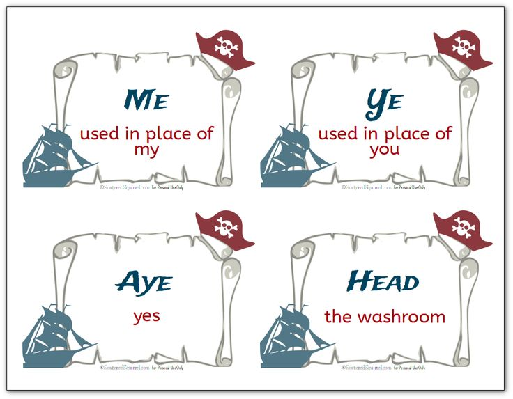 Free printable flash cards with various pirate terms like Ye and Aye, along with their definitions.