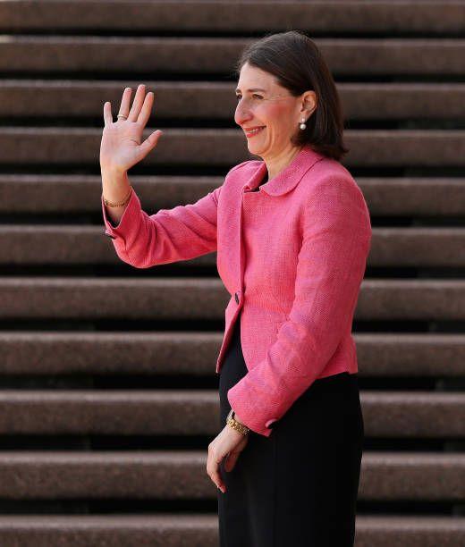 Premier Gladys Berejiklian waits to greet the Duke and