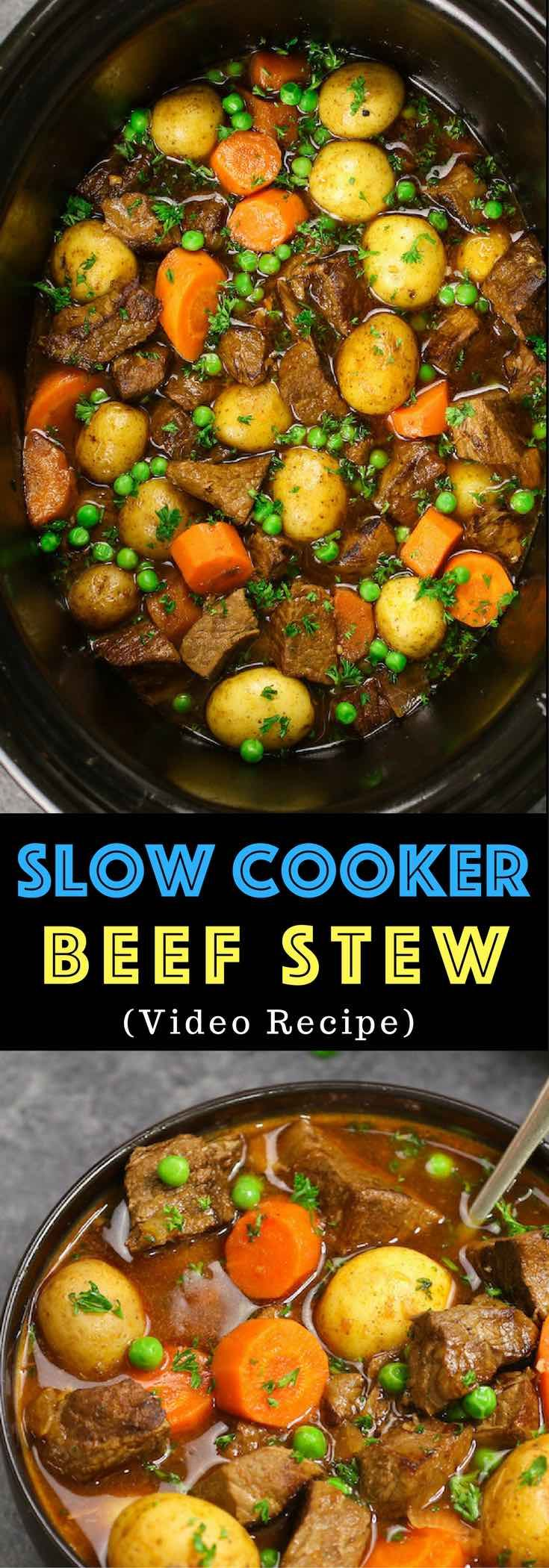 The easiest, most unbelievably delicious Slow Cooker Beef Stew. It's one of my favorite comforting crock pot recipes. Juicy and tender beef cooked with onions, carrots, green peas and potatoes with garlic, red wine, Worcestershire sauce, Italian seasoning and beef broth. So delicious. Easy one pot recipe. via @tipbuzz