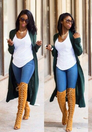 Hunter green maxi cardigan with knee high boots #streetstyle #outfit #falllook