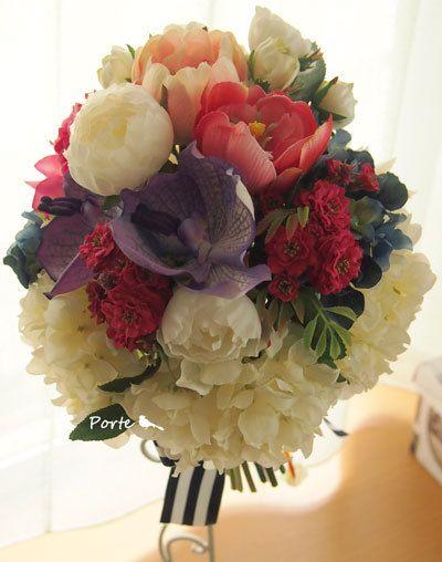 バンダとバラと紫陽花のクラッチブーケ |Wedding Flower・ぽると のブログ