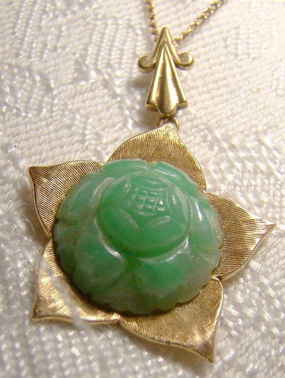 10K Carved Green Jadite Jade Lotus Flower Pendant on Chain 10