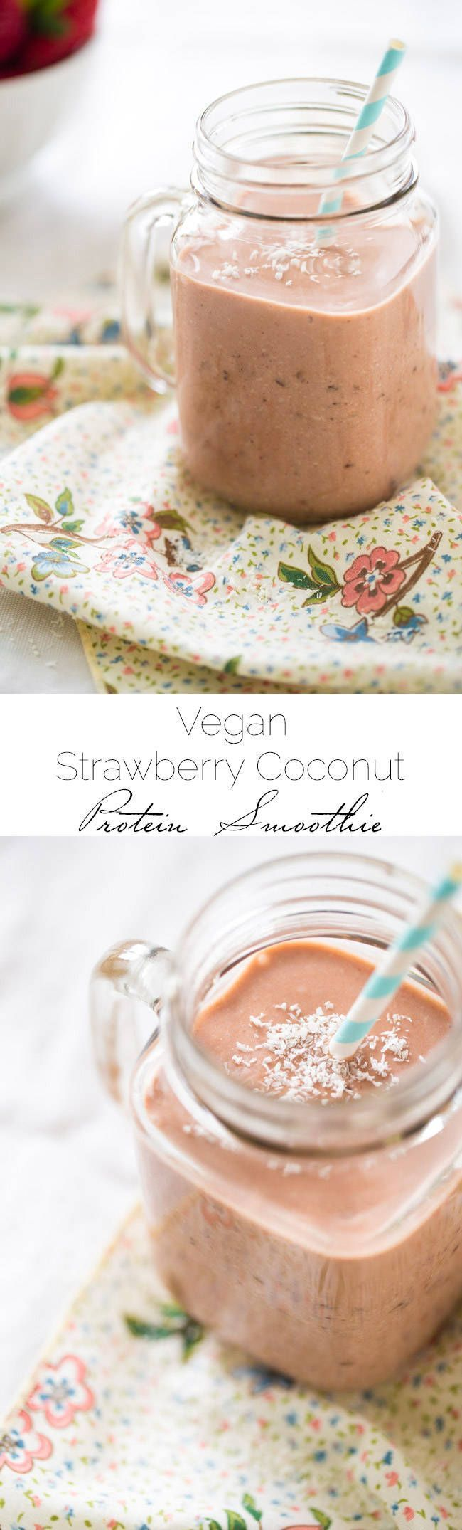 Vegan Strawberry Coconut Milk Smoothie - Made in 5 mins, only 5 ingredients and SO healthy and protein packed! | Foodfaithfitness.com | @Food Faith Fitness