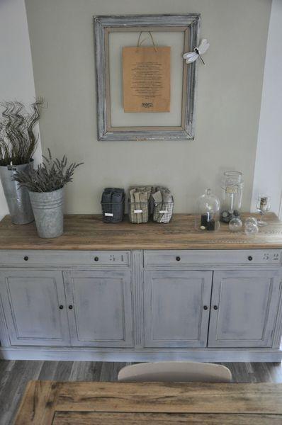 patine gris clair et plateau bois!