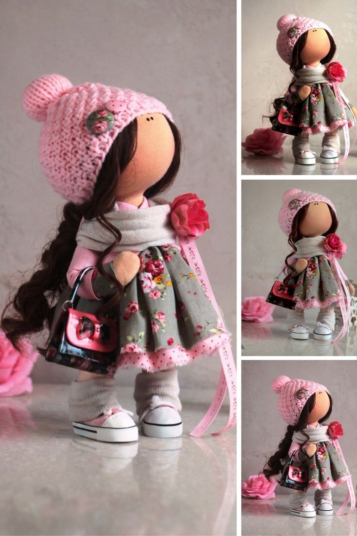 Baby doll Cloth doll Tilda doll Winter doll Handmade doll Pink doll Textile doll Soft doll Fabric doll Art doll Rag doll