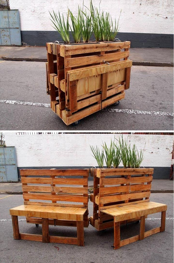 Pallet planter with potting table 30 easy pallet ideas for Pallet furniture projects
