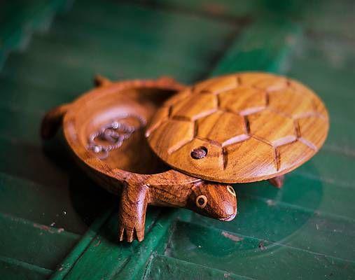 Drevená korytnačka pokladnička | Wooden turtle jewelry box // ring dish