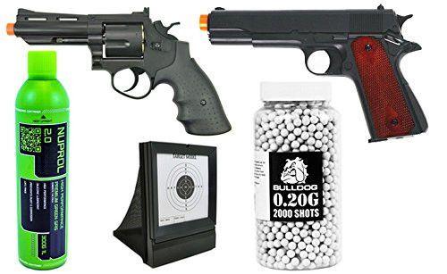 Set of 5 Airsoft Bundle Kit Airsoft Gas Revolver & Pistol Green gas Target & BBs