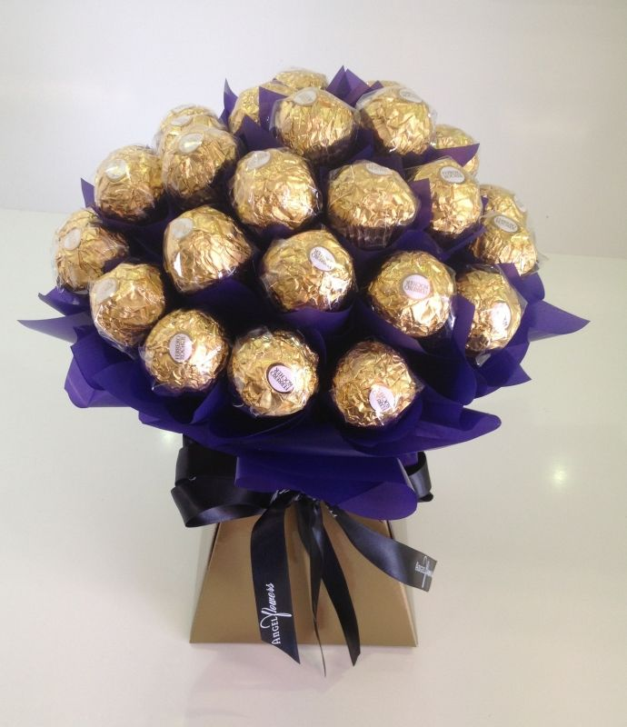 Ferrero rocher bouquet pinterest purple gold