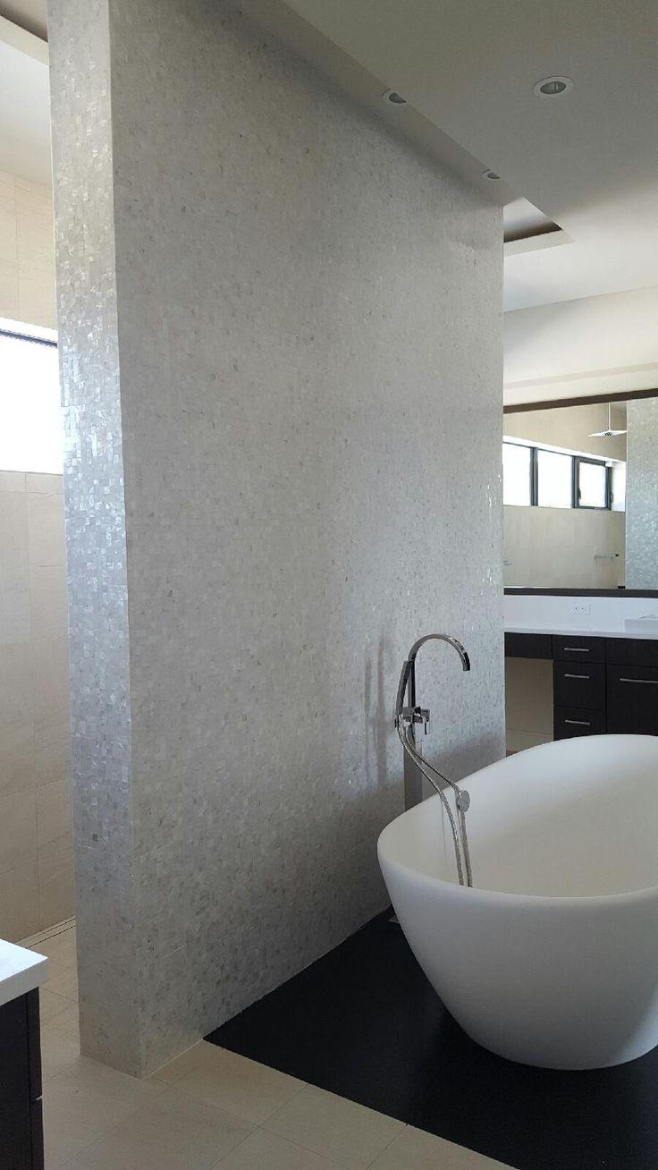 White shell tile bathroom 24 best White