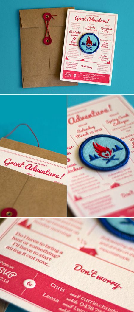 Wedding Invitation with Custom designed and embroidered merit badge via The Hungry Workshop