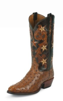 MEN'S BRANDY COWBOY CLASSIC SIGNATURE SERIES™ OSTRICH WESTERN BOOTS WITH HAND-TOOLED TOPS