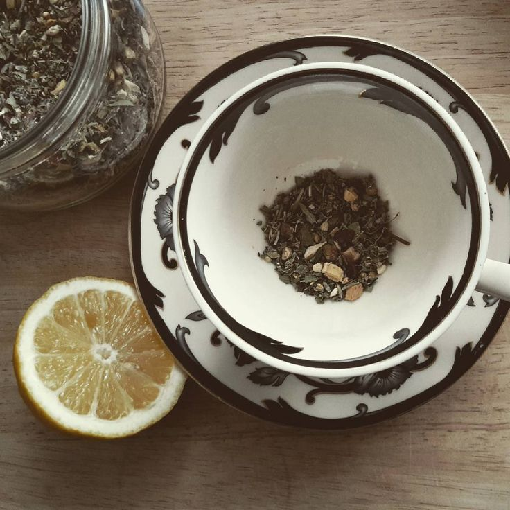 Herbal ginger tea with lemon.   #teacup #herbal #herbal tea #natural healing  #loose leaf tea #teacup and saucer #rustic #mori girl #mori kei #shabbychic #cottagechic #countrychic #cottagestyle #woodlandhome