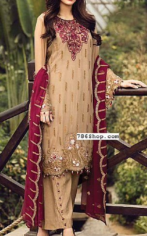 Beige Chiffon Suit | Buy Flossie Pakistani Dresses and Clothing online in USA, UK