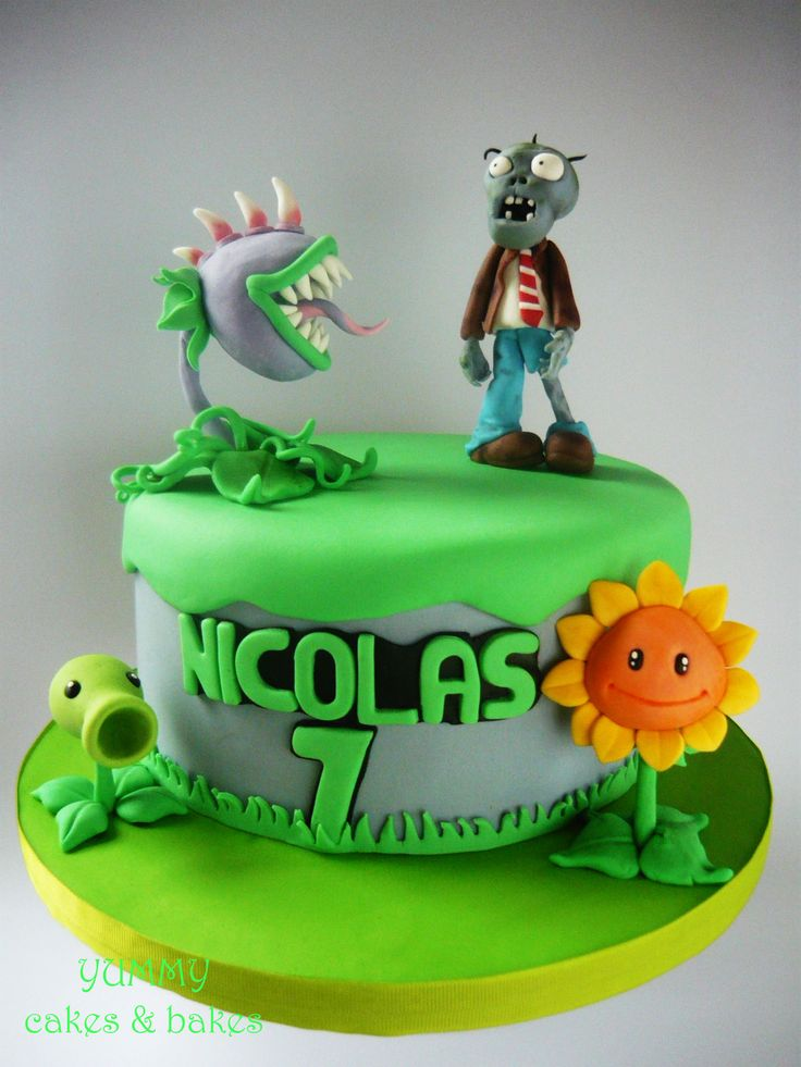 Plants Vs Zombies Cake Cherry Red Pinterest Zombies Cakes And